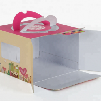 Colorful Packaging Cup Cake Handle Paper Box with PVC Window