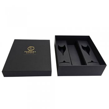Custom black packaging champagne wine box with card divider